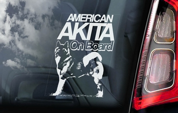 Amerikaanse Akita Inu 3  Hondensticker voor op de auto  Per Stuk