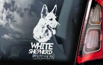 Zwitserse Witte herder Hondensticker voor op de auto  Per Stuk