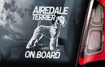 Airedale Terrier Hondensticker voor op de auto  Per Stuk