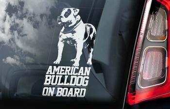 Amerikaanse Bulldog 1 Hondensticker voor op de auto  Per Stuk