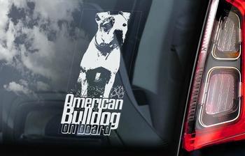 Amerikaanse Bulldog 2 Hondensticker voor op de auto  Per Stuk