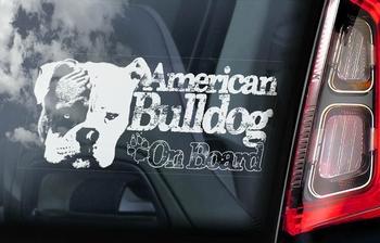 Amerikaanse Bulldog 3 Hondensticker voor op de auto  Per Stuk