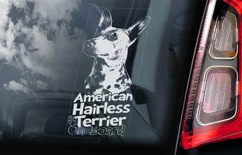 Amerikaanse Haarloze Terrier 1 Hondensticker voor op de auto  Per Stuk