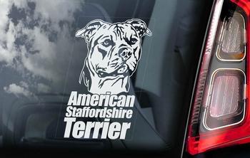 American Staffordshire Terrier 2 sticker voor op de auto  Per Stuk