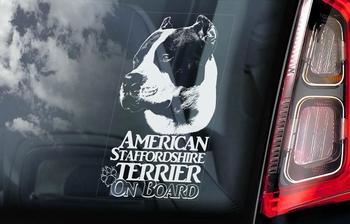 American Staffordshire Terrier 4 sticker voor op de auto  Per Stuk