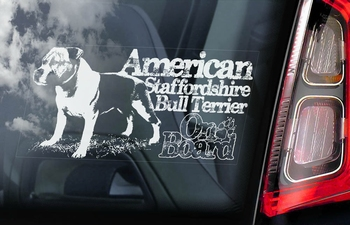 American Staffordshire BullTerrier 8 sticker voor op de auto  Per Stuk