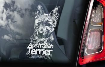 Australian Terrier 2  Hondensticker voor op de auto  Per Stuk