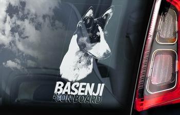 Basenji 2 Hondensticker voor op de auto  Per Stuk