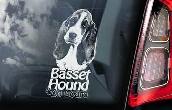 Basset Hound 2 Hondensticker voor op de auto  Per Stuk