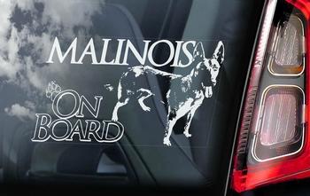 Belgian Malinois 4 Hondensticker voor op de auto  Per Stuk